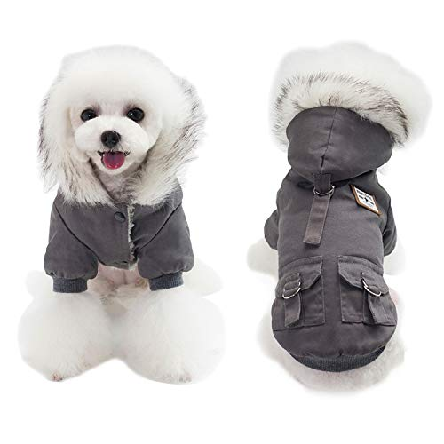 AprilWu Warm Dog Hooded Trench Coat Windproof Parka Jacket for Cold Weater (M, Black Grey)