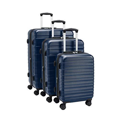 Amazon Basics - Juego de maletas rígidas de primera calidad: 56 cm, 68 cm y 78 cm, color azul