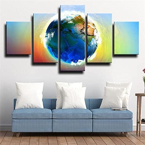 BHJIO Cuadros Decoracion Salon Modernos 5 Piezas Lienzo Grandes XXL Murales Pared Hogar Pasillo Decor Arte Pared Foto Earth Planet Globe Continents Innovador Regalo