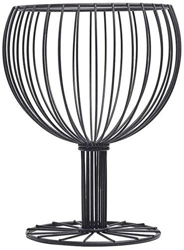 Forma de copa de vino Cesta de alambre de fruta Metal Hierro Frutero Cesta de almacenamiento de aperitivos Mesa Decoración de comedor Negro