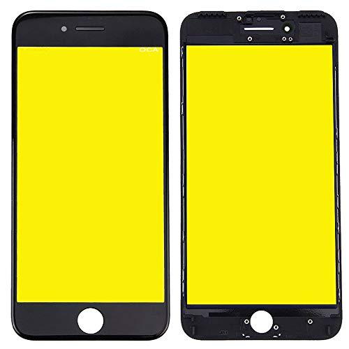 Wigento Display Glas für Apple iPhone 7 4.7 Displayglas LCD + Rahmen + OCA Kleber Ersatzteil Schwarz
