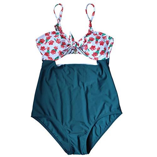Webuyii Schwangerschafts-Badeanzug Einteiler Tankini Set Übergröße Schwangerschaft Blumen hohe Taille Bademode Gr. L, grün