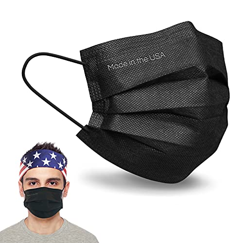 MADE IN USA, MAVINA Disposable Face Mask, ASTM Level 2 Performance Proven in Nelson Labs Studies, Three-ply Protection, Breathable & Comfortable - Pack of 50 (Black)