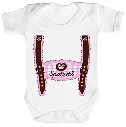 ShirtStreet Wiesn Strampler Bio Baumwoll Baby Body Kurzarm Jungen Mädchen Oktoberfest - Mädchen Lederhose Spatzerl, Größe: 12-18 Monate,White