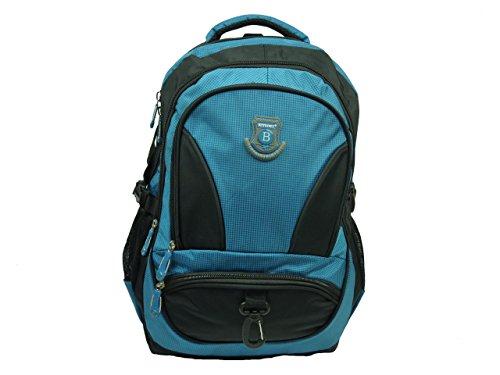 New Berry Schulrucksack - Rucksack für Schule Arbeit Sport Outdoor - wetterfest, stabil und komfortabel - 32 Liter - 45 x 35 x 20 cm (blau Petrol schwarz)