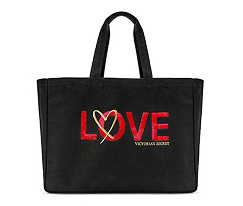 Victoria's Secret Love Tote Weekender Bag, Black Canvas & Red Sequin Sold Out