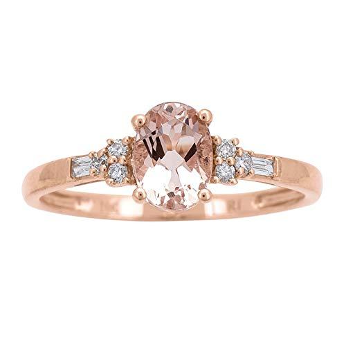 Gin & Grace 10K de oro rosa genuino y natural Morganita de compromiso de diamantes promesa Proponen Promise Ring para la Mujer