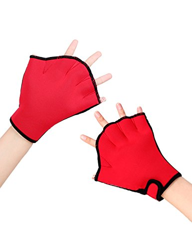 LORIE Aquatic Gloves Fitness Water Resistance Training Aqua Fit Webbed Swim Gloves (Red, L)