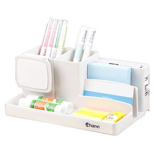 Schreibtisch-organizer Mit Handyhalter,multifunktionale Office Storage Box Kunststoff Büro Stift Halter Box Mit Usb-anschluss A-1 21 * 12.5 * 9cm