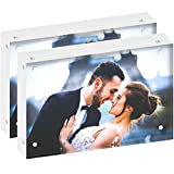 DEKIRU Acrylic Picture Frames - 5x7' (2 Packs) - 24mm Thick, 20% Thicker • Magnetic Photo Frames • Frameless Desktop Picture Frame • Floating Acrylic Frames • GRADE AAA Clear Acrylic Block Frame