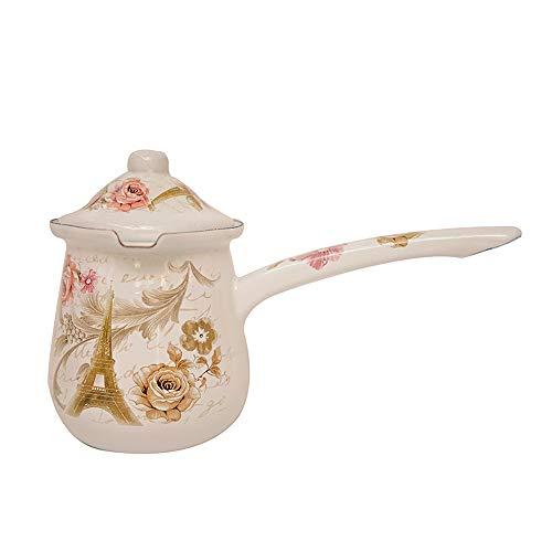 SLHP Turkish Coffee Pot 0.7 l Mini Enamel Milk Pot 0.5 l Vintage Butter Pot with Lid (400ml, White)