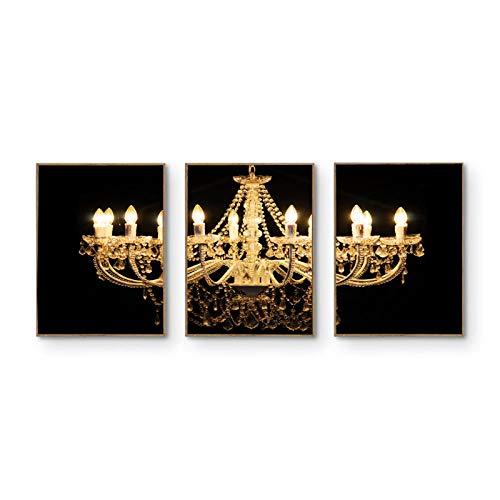 hdbklhjxk Leinwand Malerei Kristall Gold Schwarz Weiß Kronleuchter Poster und Drucke Wandkunst Bilder für Wohnzimmer Moderne Dekoration 40x60cmx3 Kein Rahmen