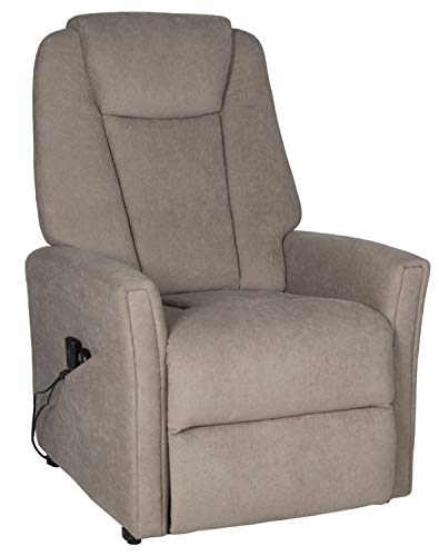 Duo Collection Eston TV-Sessel mit Motor, Aufstehhilfe und Massage, Palermo-Stoff, Grau, L/B/H: 91-168cm/ 80cm/ 80-114cm