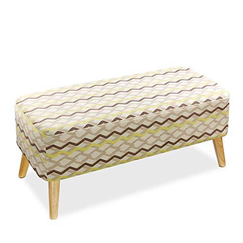 Ypw Stool A02 - Banco de sofá de 4 patas desmontable y lavable, diseño vintage de madera maciza, color marrón y amarillo