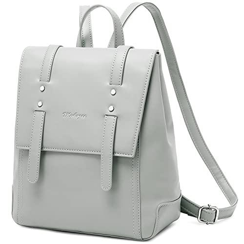 Myhozee Rucksack Damen Klein Cityrucksack Elegant Tagesrucksack PU Leder Schulrucksäcke Daypack Diebstahlsicher Taschen für Arbeit/Shopping/Uni - Grau