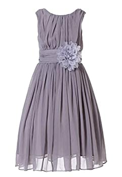 Bow Dream Little Girls Elegant Ruffle Chiffon Summer Flowers Girls Dresses Junior Bridesmaids Grey 5