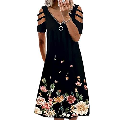 WXDSNH Sommer Damen Bedrucktes LäSsiges Kurzarm-ReißVerschluss Mit V-Ausschnitt UnregelmäßIges Kleid