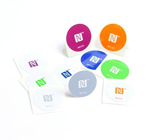 NFC Tag Sticker-Aufkleber 30 mm, 180 + 540 Byte, kompatibel mit allen nfc-fähigen Smartphones, 10 Stück bedruckt, optimal für Kontaktdaten/ Geräte-/ Profilsteuerung (Wlan, Bluetooth, SMS, Telefonanruf per NFC),NXP NFC Chip