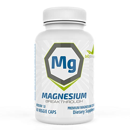 Bioptimizers - Magnesium Breakthrough - 7 Types of Magnesium – Chelate, Citrate, Bisglycinate, Malate, Aspartate, Taurate, Oratate (60 Capsules)