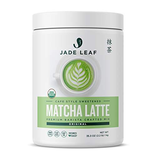 Jade Leaf Organic Matcha Latte Mix - Cafe Style Sweetened Blend - Sweet Matcha Green Tea Powder (2.2...