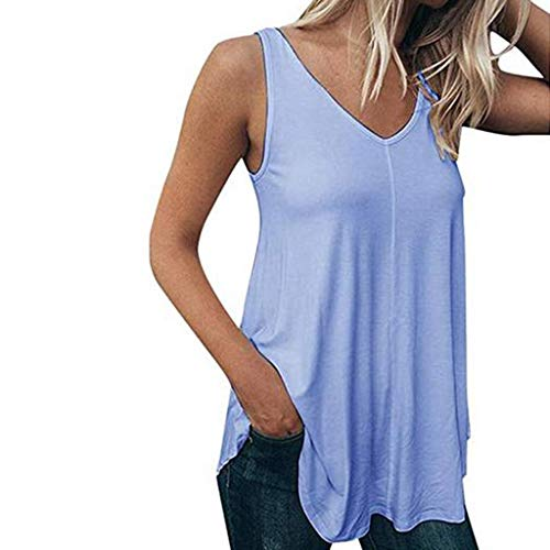 HHei_K Women Fashion Pure Color Leisure Vest Plus Size Casual Solid Color V-Neck Sleeveless Blouse T-Shirt Tank Top Blue