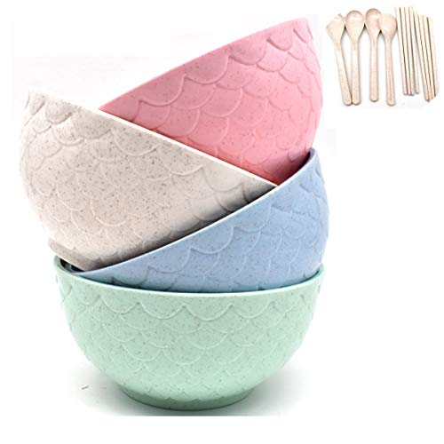Tianher 4 Piezas Cuencos de Cereales irrompibles con Cubiertos Cuencos de Paja...