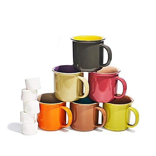 Yedi Houseware Haushaltsartikel set von 6 jumbo 20 unzen porzellantassen, kaffee, tee, kakao orange, grau, gelb, braun kastanienbraun, beige 20 once