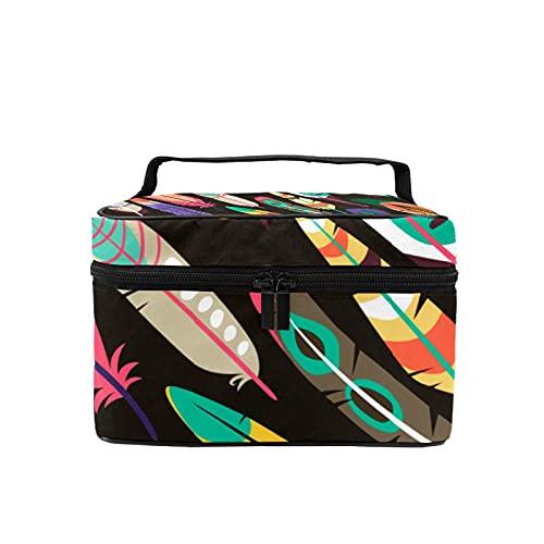 Bolsa de maquillaje de viaje, bolsa de cosméticos grande, plumas de pájaro coloridas, organizador con bolsa de malla para mujeres y niñas