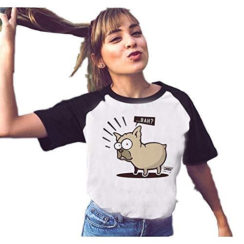 Grea Tops Bulldog Francés Camisetas Pug Camiseta Estampada Mujeres Animal...