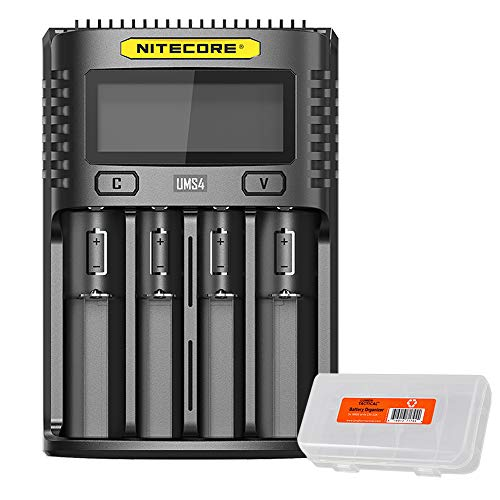 NITECORE UMS4 Intelligent USB Four Slot Quick Battery Charger for Li-Ion/Ni-MH/Ni-Cd/IMR 16340 14500 18650 21700 20700 AA AAA and More Batteries, with LumenTac Battery Organizer