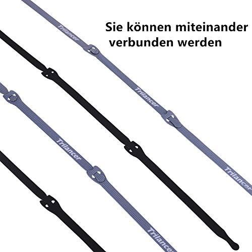 Kabelbinder mit Klett, 20CM 50 Stück Trilancer Wiederverwendbare Klettkabelbinder Kabelklett (Schwarz)