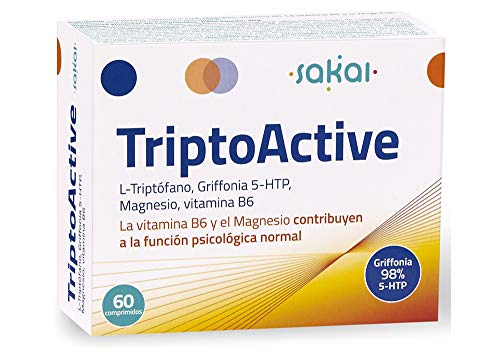 Sakai – TriptoActive 60 Comprimidos Activa El Estado De Ánimo L-Triptófano 5-HTP, Vitamina B6 y Magnesio Acción Sinérgica Potenciada Favorece La Síntesis De Serotonina Decaimiento Agobio Apatía