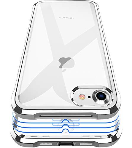 Garegce Coque Compatible avec iPhone Se 2020/7 / 8, 3 Pack Verre Trempé Protection écran, Silicone Antichoc Bumper Protection Cover pour iPhone Se / 7/8-4.7pouces - Argent