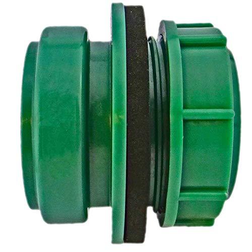 DN50 Anschraub-Muffe grün UV-stabilisiert | Außengewinde 2 Zoll (ca. 59mm) Regentonnenverbinder Regentonne Airfit