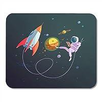 耐久性があるマウスパッド宇宙船オープンスペースロケットと宇宙飛行士の宇宙服漫画耐久性があるマウスパッド用ノートブック、デスクトップコンピュータマウスマット、オフィス用品
