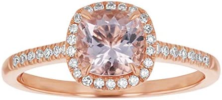 Olivia Paris 14K Rose Gold 1 Carat TGW Cushion Cut Morganite and Diamond Engagement Ring H I product image