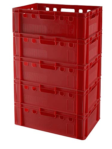 5 Stück E2 Kisten 60x40x20 Fleischkiste Lagerkiste Metzgerkiste in rot