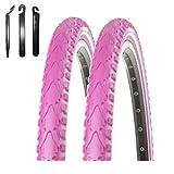 maxxi4you Angebot-Set / 2 x Kenda K-935 Premium Fahrradreifen Fahrradmantel Pink Reflex 40-622 (28 x 1.50) inkl. 3 Reifenheber