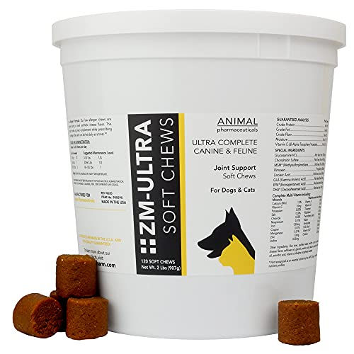 Animal Pharmaceuticals ZM-Ultra Joint Supplement for Dogs & Cats - Fish Oil  Glucosamine for Dogs  Chondroitin  MSM  Rimoxen  & Omega 3 - Dog Hip and Joint Supplement & Dog Multivitamin - 120 ct
