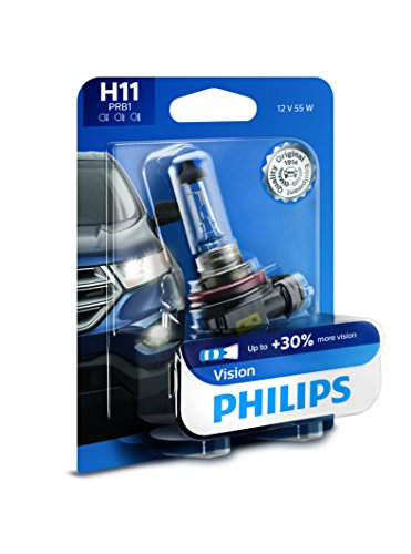 Philips H11 Vision Upgrade Headlight Bulb with up to 30% More Vision, 1 Pack