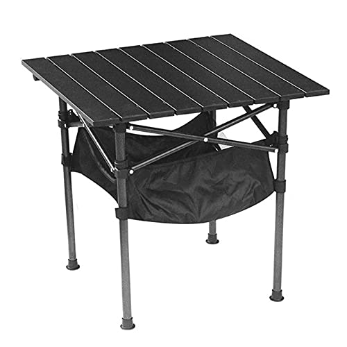 SUPERFIVE Mesa de camping plegable, ligera, resistente a la intemperie, mesa de jardín con bolsillo, 53 x 53 cm, plegable, de aluminio, ideal como mesa auxiliar para jardín, salón, camping, cocina,