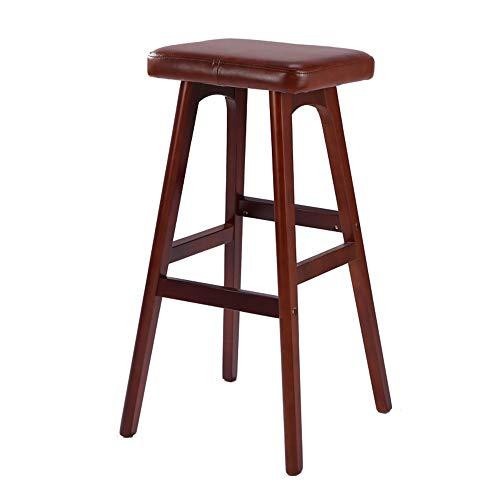 Zaixi Tabouret de bar en bois massif 100% avec siège de luxe Faux, outil de barres artisanales, 79cm de haut (Couleur : Brown B)