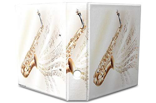 LEotiE SINCE 2004 Motiv Akten Ordner Bedruckt 60mm DIN A4 Saxophon Noten