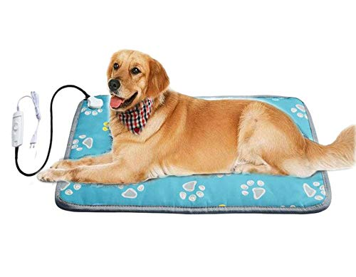 Langroup XXL Pet Heating Pad for Large Dog House Heater Indoor,Electric Adjustable Dog Warming Mat with Chew Resistant Cord Waterproof Heated Dog Bed Home,Easy to Clean and Safe,34' x 21' (Blue)