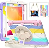 Case for iPad 9th Generation 2021, iPad 8th Generation 2020, iPad 7th Generation 2019, iPad 10.2 case with Screen Protector & Pencil Holder, iPad Case for Kids Boys Girls-Pink