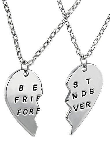 Hanessa Freundschafts-Halskette für Mädchen in Silber (2 Stück) Best Friends Forever Liebe Herz Damen-Schmuck