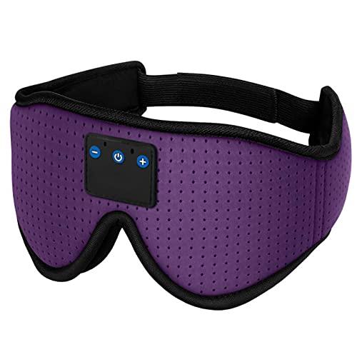 Audífonos para dormir, auriculares inalámbricos con máscara de musica, para dormir de lado, oficina, viajes, accesorios de tecnología fresca regalo único (color: morado)