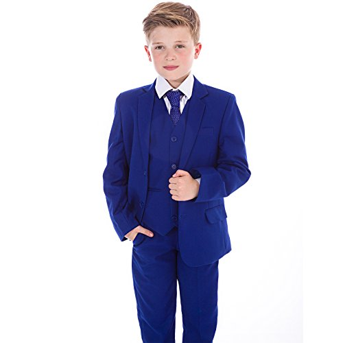 Vivaki Anzug für Jungen, für formelle Anlässe wie Hochzeit oder Ball, 5-teilig, Marineblau - 10-11 Jahre