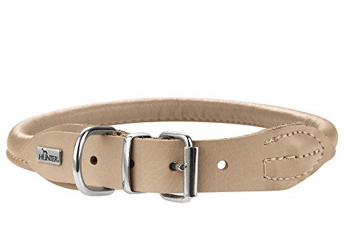 HUNTER ROUND & SOFT ELK Hundehalsband, Leder, weich, rund, fellschonend, 50 (M), beige