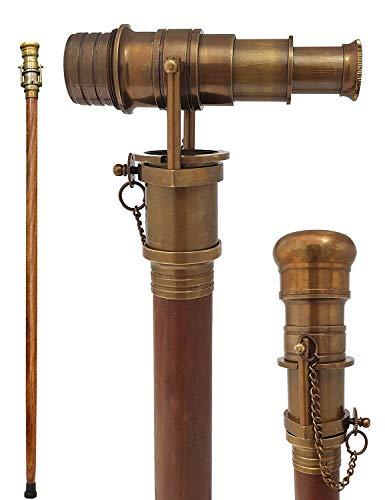 Brass Nautical Telescope Walking Stick Antique Finish Costume Wooden Cane Foldable Rosewood Stick Steampunk Style